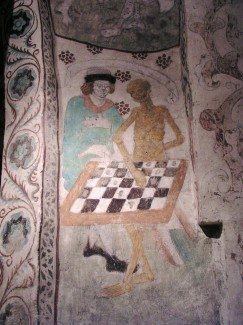 Death Playing Chess by Albertus Pictor (1440-1507). Täby Kyrka, Diocese of Stockholm. Photo August 2003 by Håkan Svensson (Xauxa).