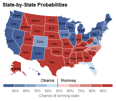 2012 US Presidential Election, State by State, Nate Silver, FiveThirtyEight.nytimes.com